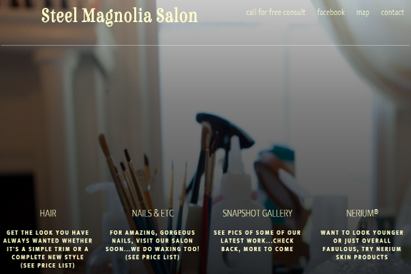 screenshot Steel Magnolia Salon website